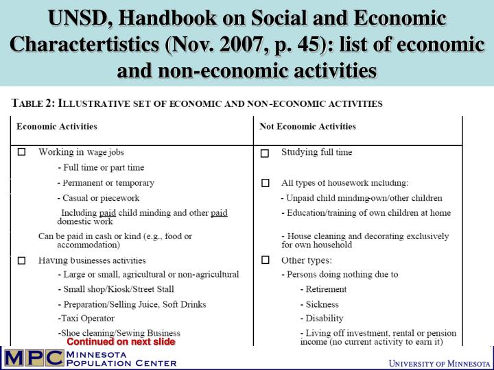 UNSD, Handbook on Social and Economic Charactertistics (Nov. 2007, p. 45): list of economic and non-economic activities
