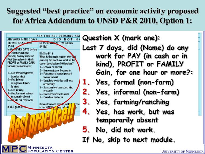 "Suggested ""best practice"" on economic activity proposed for Africa Addendum to UNSD P&R 2010, Option 1:"