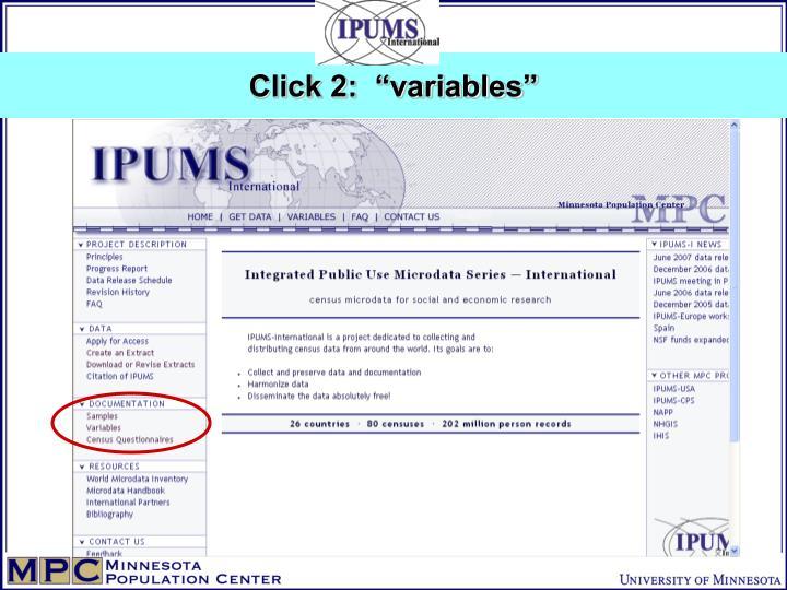 """Click 2:  """"variables"""""""