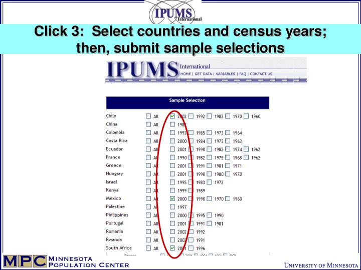 Click 3:  Select countries and census years;
