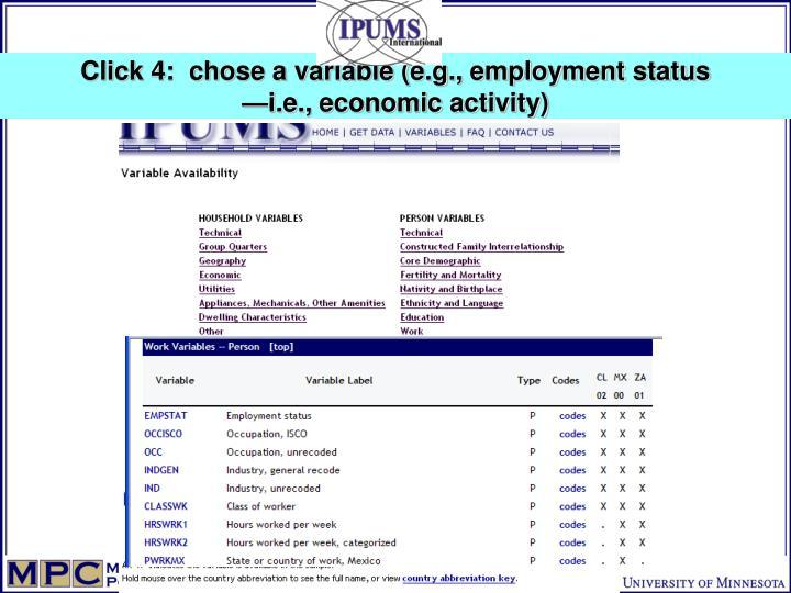 Click 4:  chose a variable (e.g., employment status