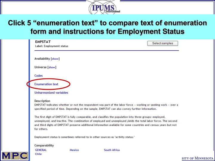 "Click 5 ""enumeration text"" to compare text of enumeration form and instructions for Employment Status"