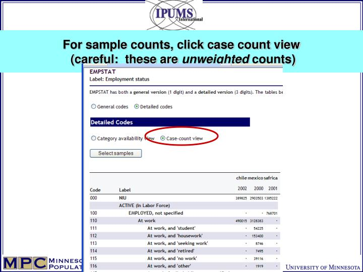 For sample counts, click case count view