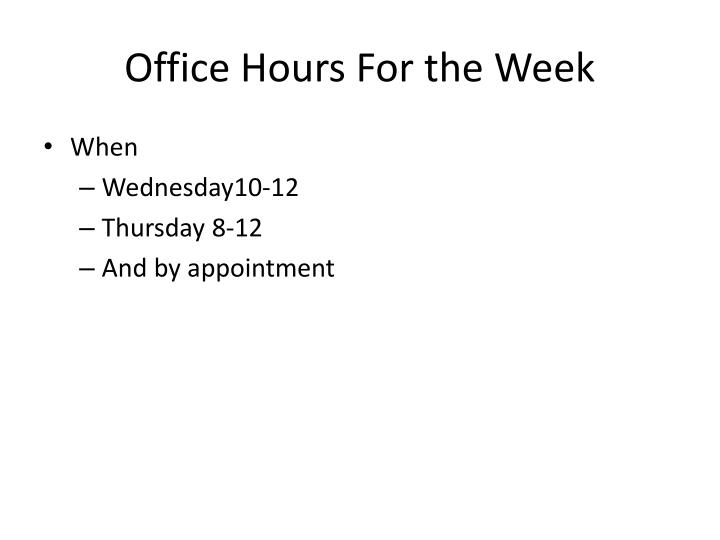 Office Hours For the Week