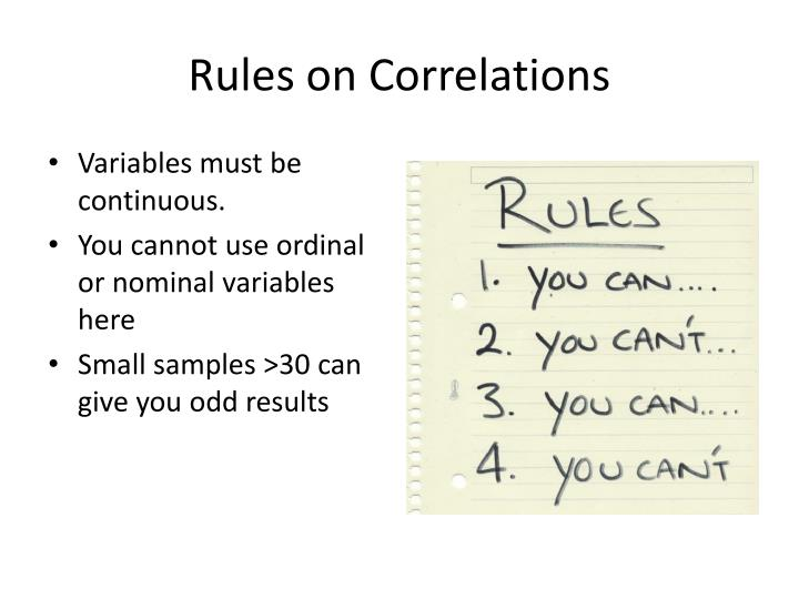 Rules on Correlations