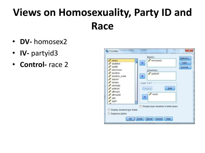 Views on Homosexuality, Party ID and