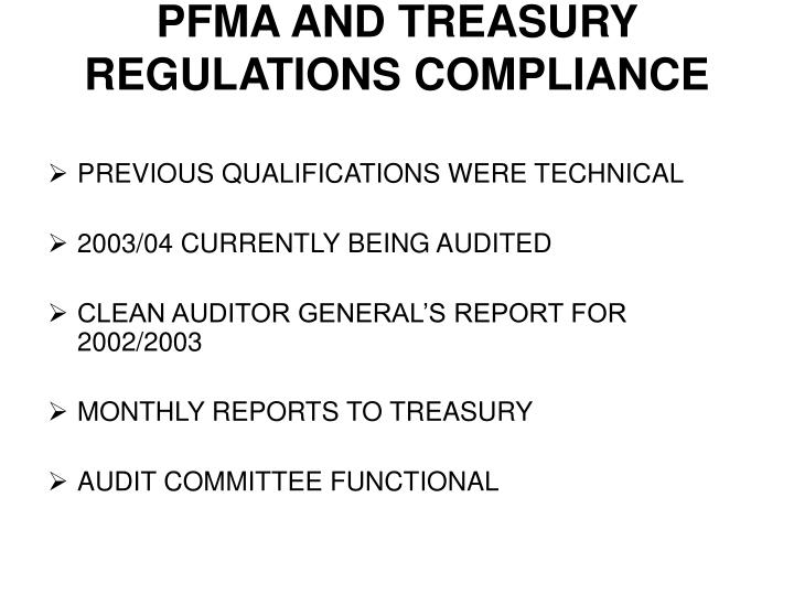 PFMA AND TREASURY REGULATIONS COMPLIANCE