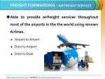 freight forwarding air freight services