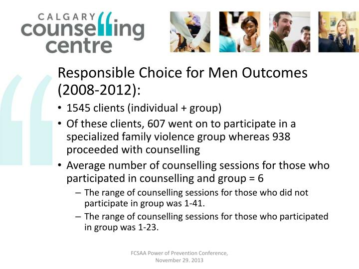 Responsible Choice for Men Outcomes (2008-2012):