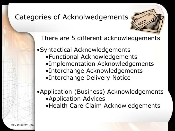 Categories of Acknolwedgements