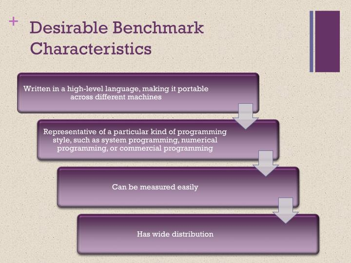 Desirable Benchmark Characteristics