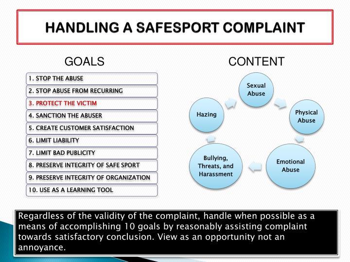 HANDLING A SAFESPORT COMPLAINT