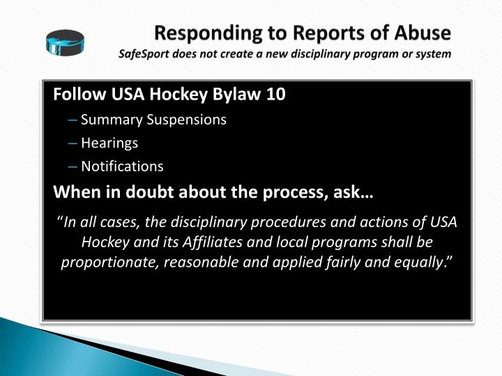 Responding to Reports of Abuse