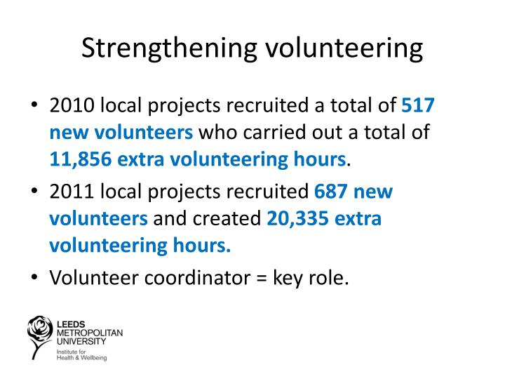 Strengthening volunteering