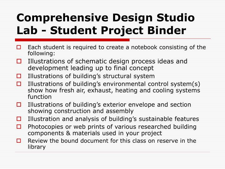 Comprehensive Design Studio Lab - Student Project Binder
