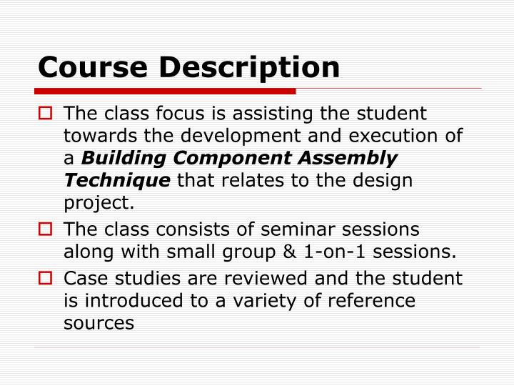 Course description1