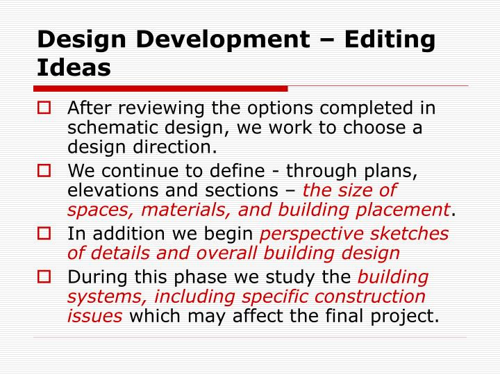 Design Development – Editing Ideas