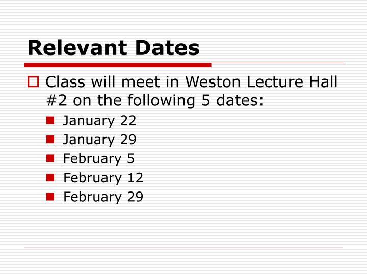 Relevant Dates