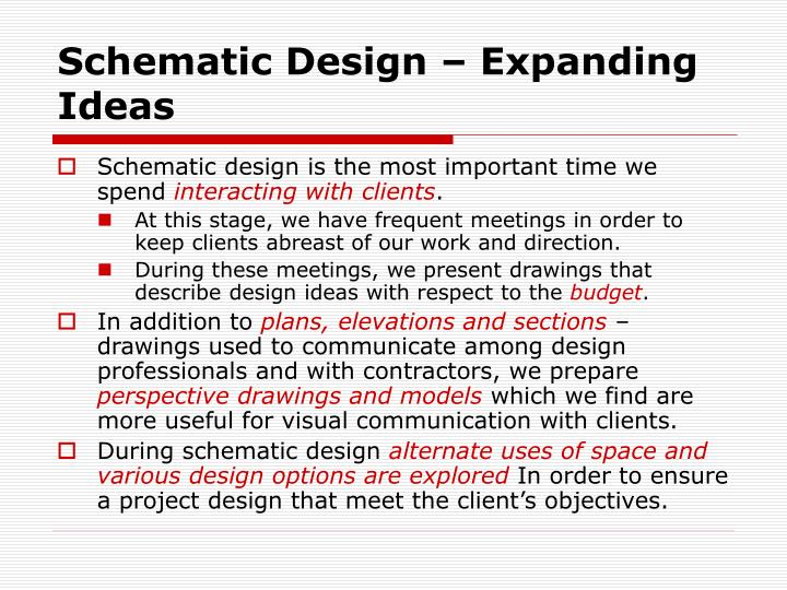 Schematic Design – Expanding Ideas