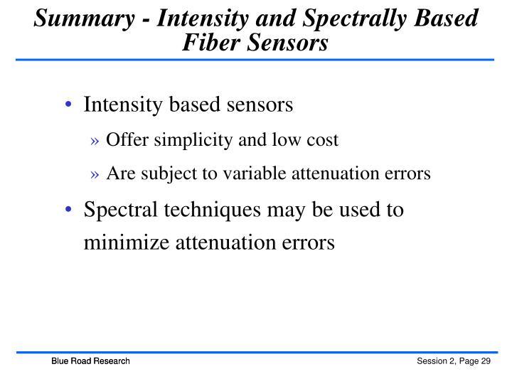 Summary - Intensity and Spectrally Based Fiber Sensors