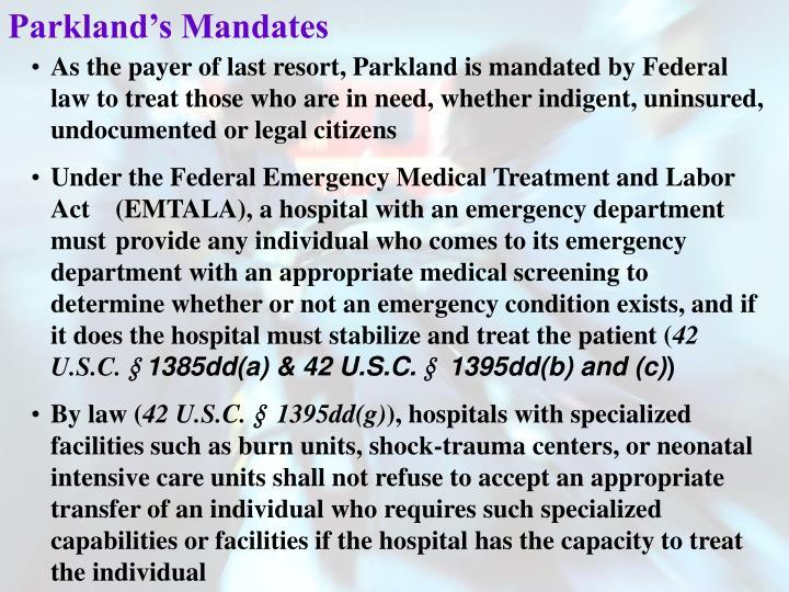 Parkland's Mandates