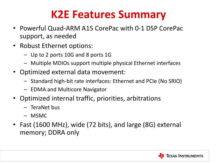 K2E Features Summary