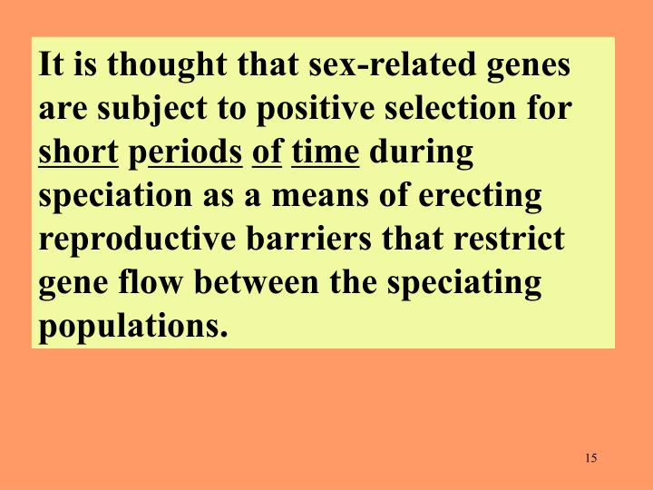 It is thought that sex-related genes are subject to positive selection for