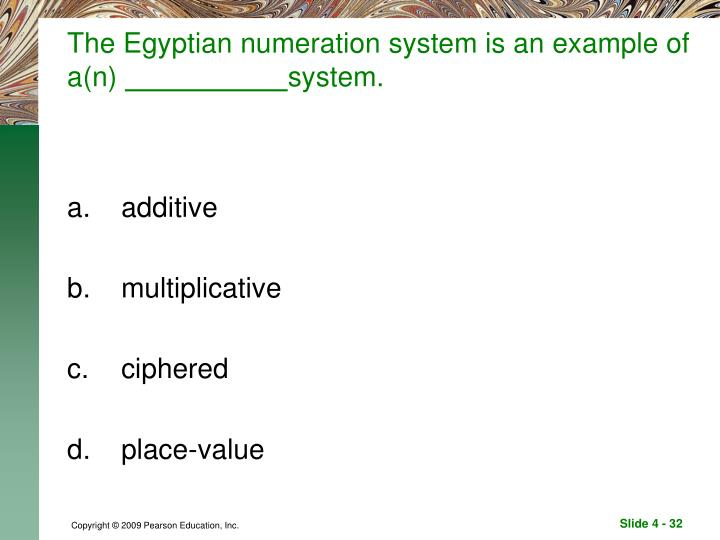 The Egyptian numeration system is an example of a(n)