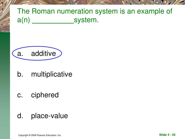 The Roman numeration system is an example of a(n)