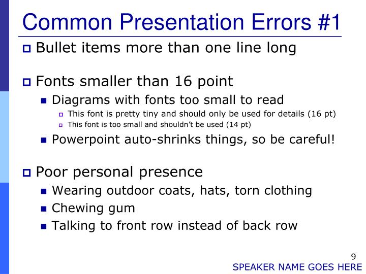Common Presentation Errors #1