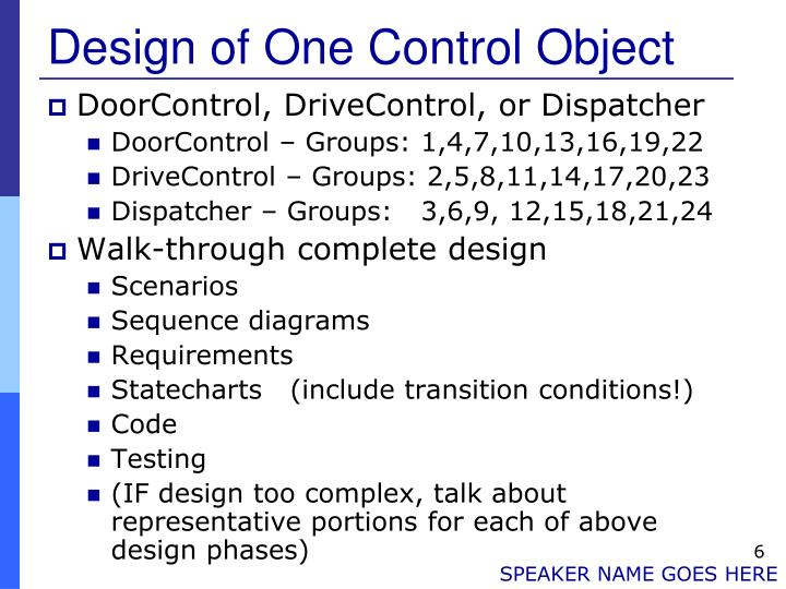 Design of One Control Object