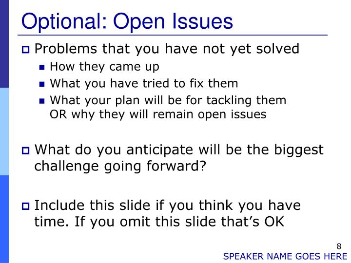 Optional: Open Issues