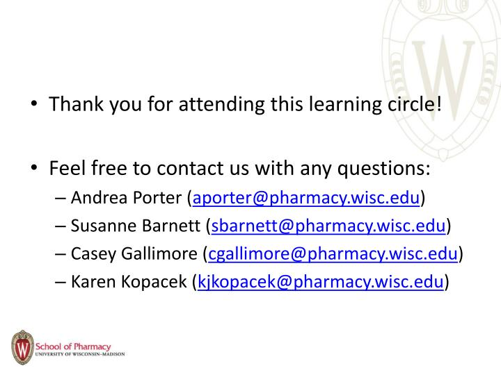 Thank you for attending this learning circle!
