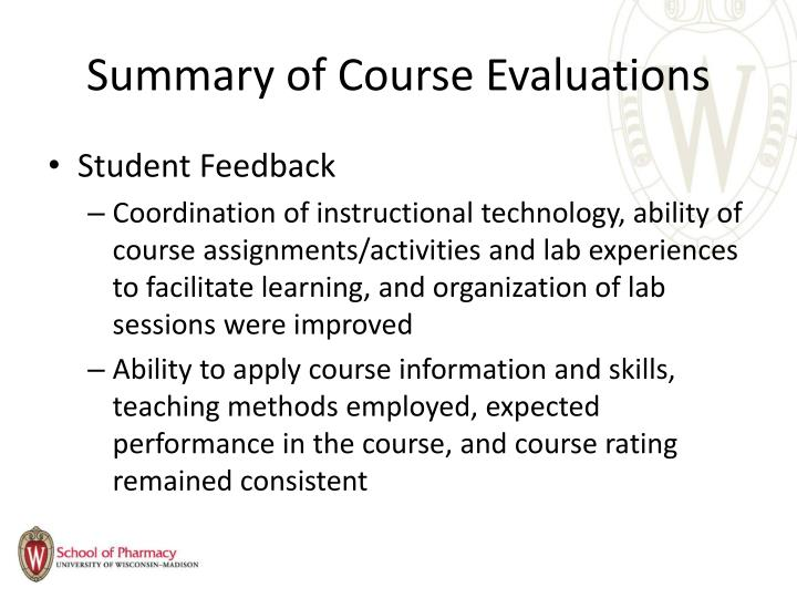 Summary of Course Evaluations