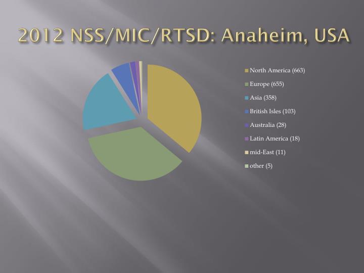 2012 NSS/MIC/RTSD: Anaheim, USA