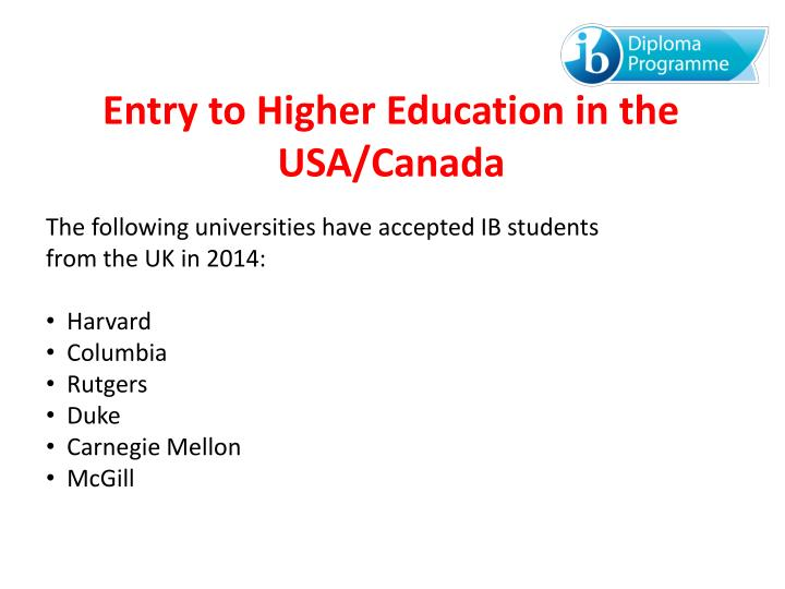 Entry to Higher Education in the USA/Canada