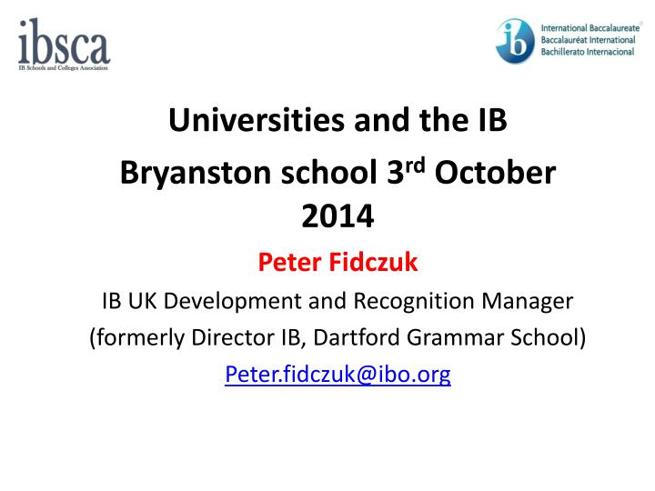 Universities and the IB