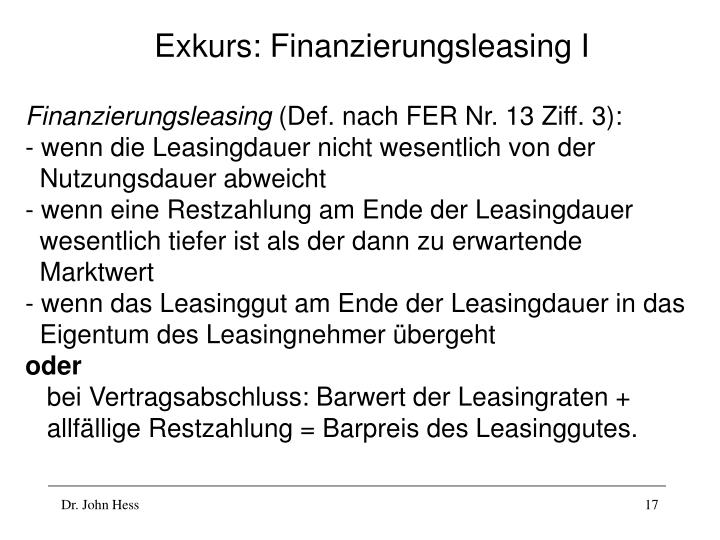 Exkurs: Finanzierungsleasing I