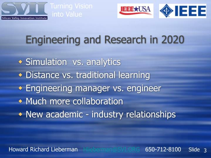 Engineering and research in 2020