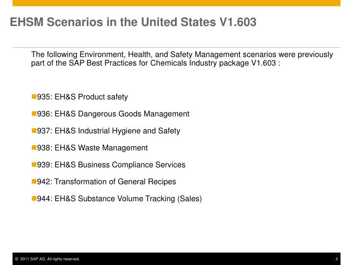 Ehsm scenarios in the united states v1 603