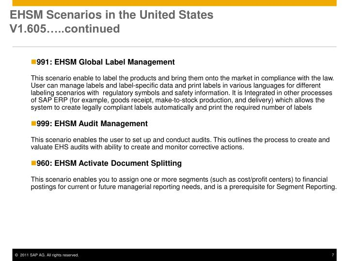EHSM Scenarios in the United States V1.605…..continued
