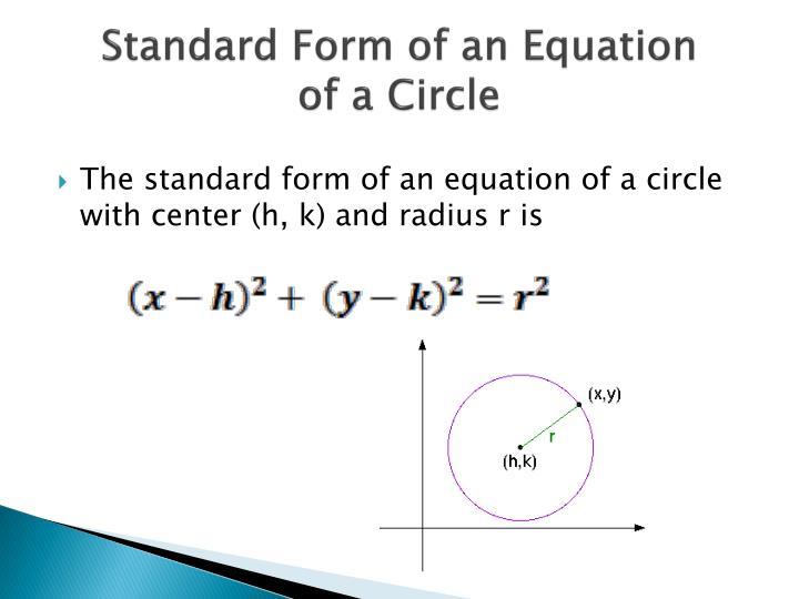 Standard form of an equation of a circle