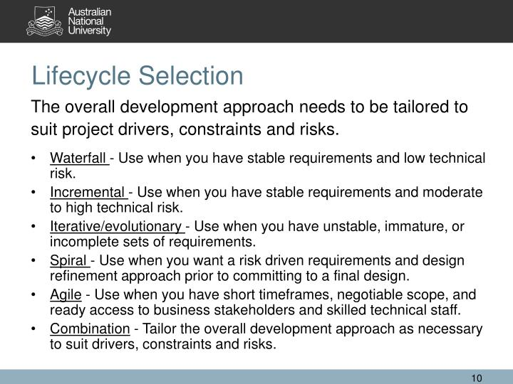 Lifecycle Selection