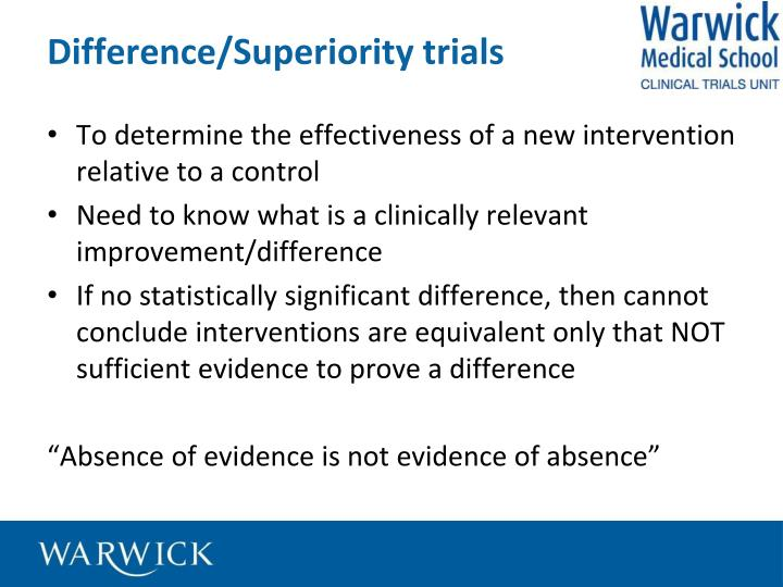 Difference/Superiority trials