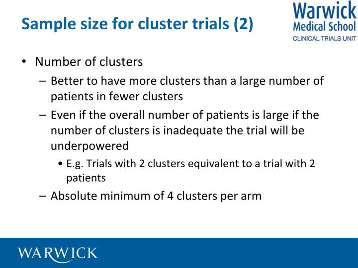 Sample size for cluster trials (2)