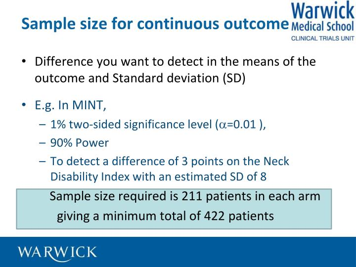 Sample size for continuous outcome