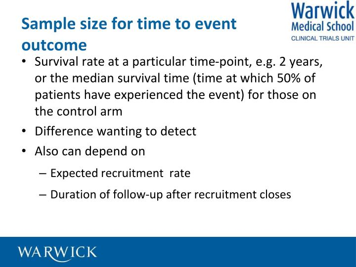 Sample size for time to event