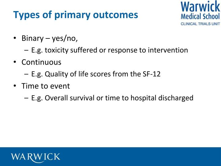 Types of primary outcomes