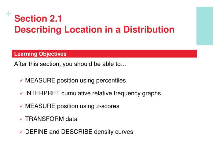 Section 2 1 describing location in a distribution