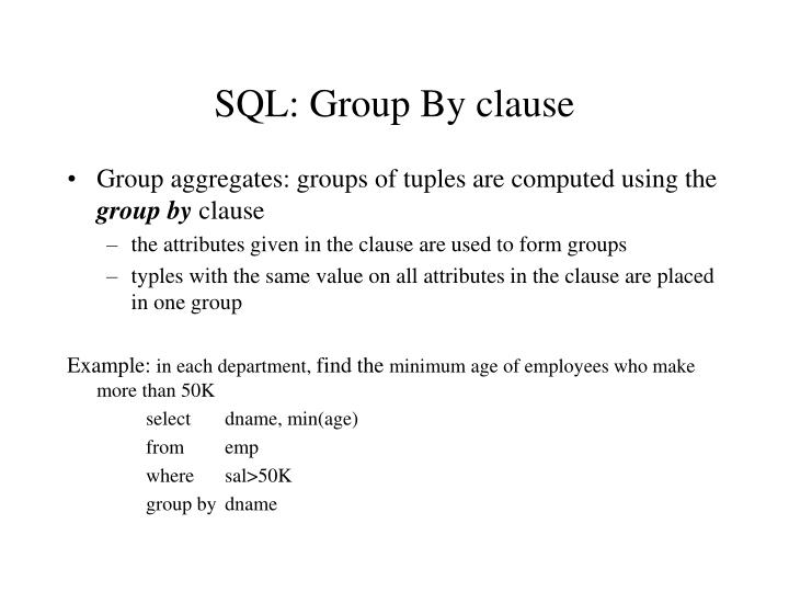 SQL: Group By clause